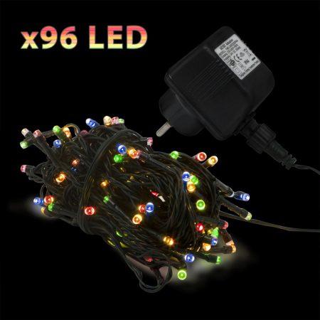 20m RGB LED fényfüzér, 96 ledes színváltós fényszalag