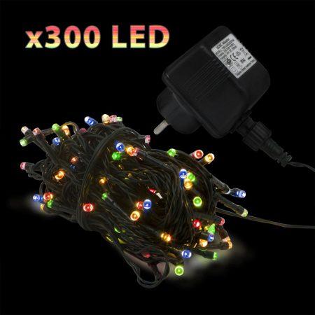 40m RGB LED fényfüzér, 300 ledes színváltós fényszalag