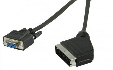 SCART - VGA kábel, SCART apa - VGA anya, 0,5 m