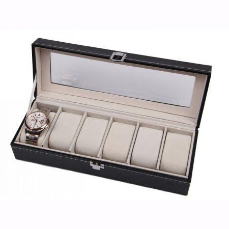 Óratartó doboz - 6 db karórához (Bézs belső)