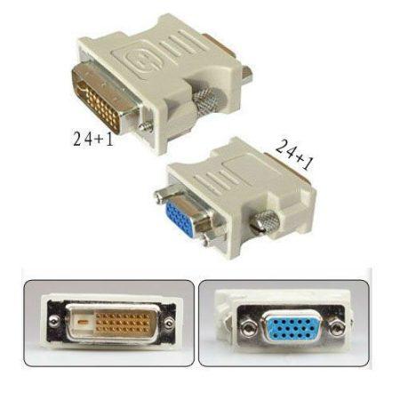 DVI (male) -  VGA (female) átalakító adapter - 24+1 pin