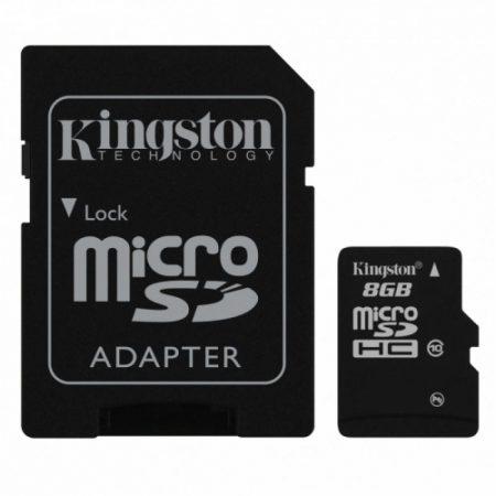 Kingston 8GB microSD memória kártya Class10 + SD adapter