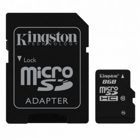 Kingston microSDHC 8GB Class10 memóriakártya + SD kártya adapter