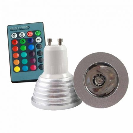 Színváltós RGB LED lámpa izzó GU10 távirányítóval