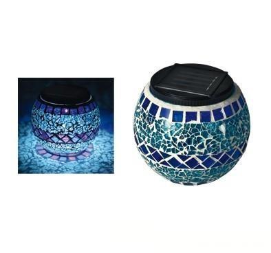 Napelemes LED mozaik mécses - kék