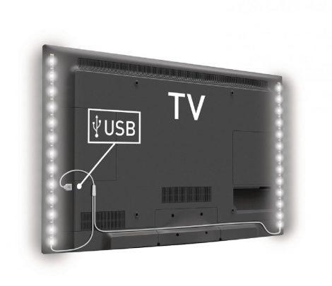 Hideg fehér USB LED szalag szett TV mögé