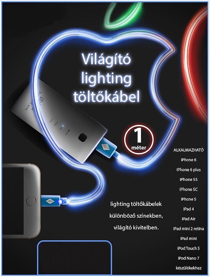 iPhone 5/5S/5C/6/6 plus világító USB adat és töltő kábel