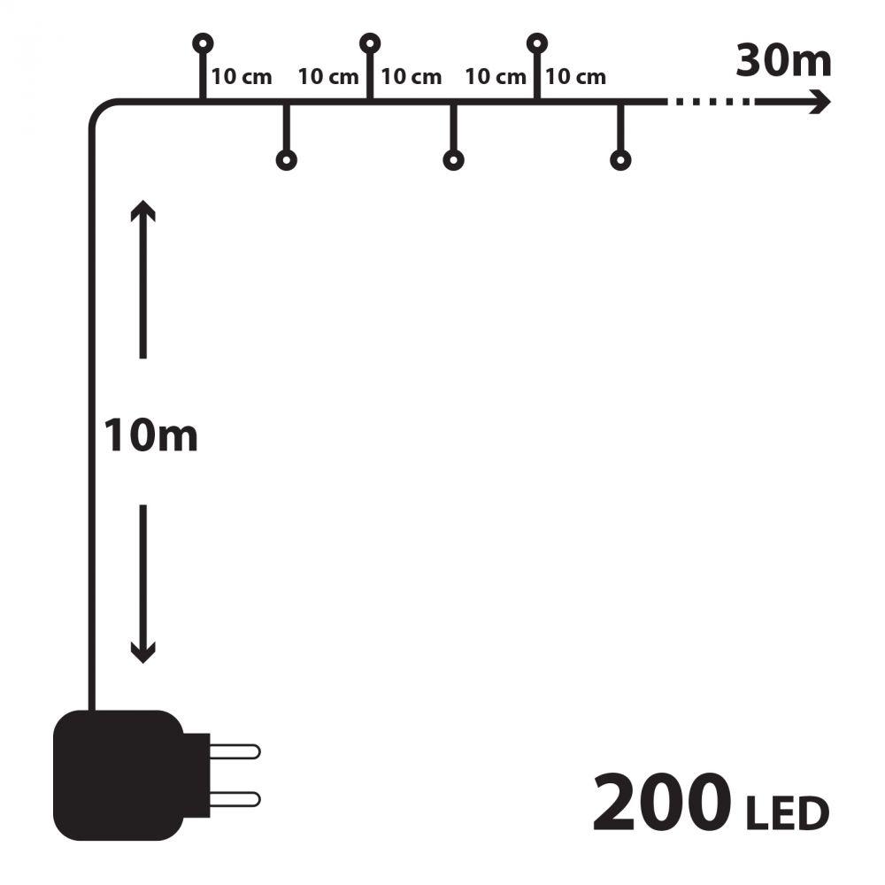30m RGB LED fényfüzér, 200 ledes színváltós fényszalag