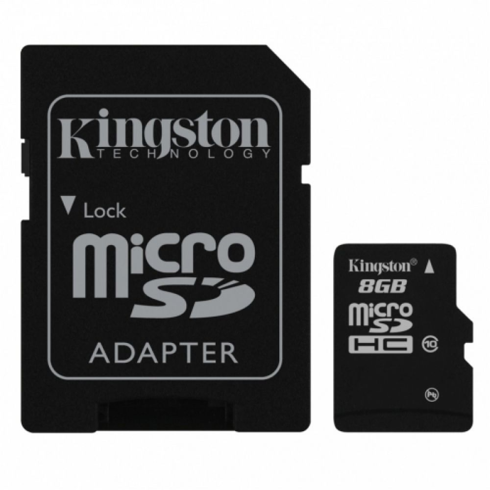 Kingston 8GB microSD memória kártya Class10 + SD adapter