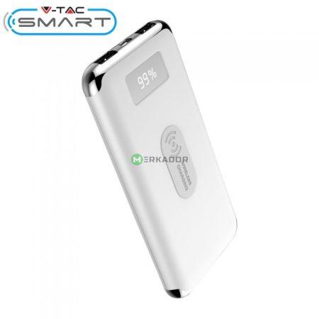 V-TAC Smart powerbank, wireless vésztöltő, vezeték nélküli töltő, fehér - 10000 mAh - 8854