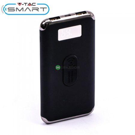 V-TAC Smart powerbank, wireless vésztöltő, vezeték nélküli töltő, fekete - 10000 mAh - 8855