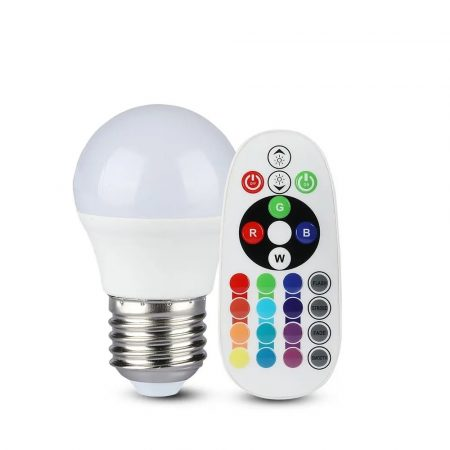 V-TAC színváltós RGB+ természetes fehér LED lámpa izzó 3.5W / E27 - 2773