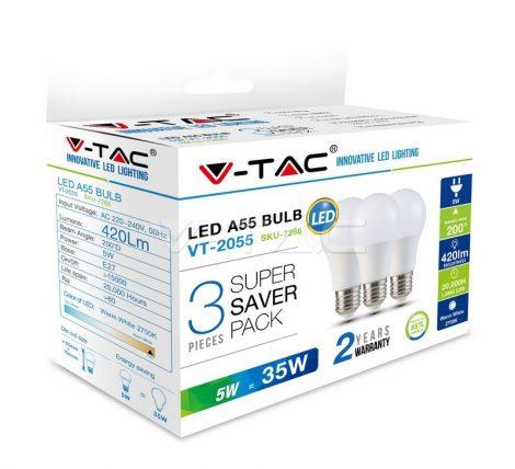 V-TAC LED lámpa izzó 5W E27 2700K - 3 db/csomag - 7266