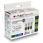 V-TAC LED lámpa izzó 5W E27 6400K - 3 db/csomag - 7268