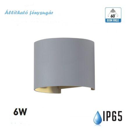 V-TAC szürke kültéri fali lámpa állítható fénysugárral - IP65, 6W, meleg fehér - 7083
