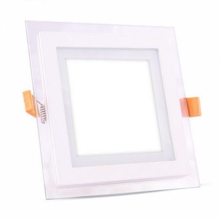 V-TAC süllyeszthető üveg LED lámpa panel - 12W, hideg fehér, négyzet - 4741