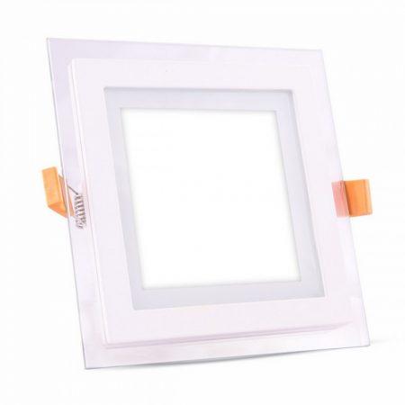 V-TAC süllyeszthető üveg LED lámpa panel - 12W, természetes fehér, négyzet - 6278
