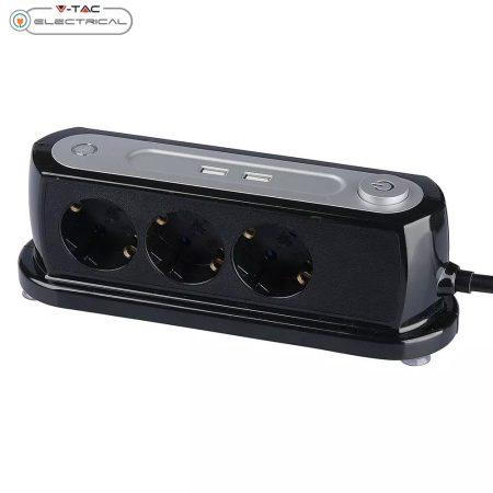 V-TAC hatos asztali elosztó túlfeszültség és túláram elleni védelemmel, kapcsolóval és USB töltővel 1.4m - 8817
