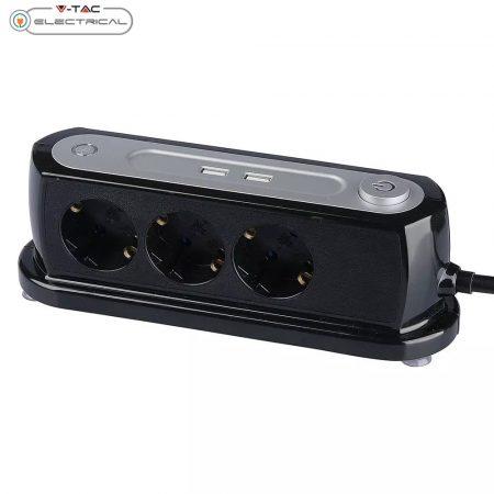 V-TAC hármas asztali elosztó túlfeszültség és túláram elleni védelemmel, kapcsolóval és USB töltővel 1.4m - 8817