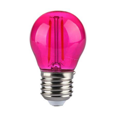 V-TAC filament LED izzó E27, 2W, rózsaszín - 7410