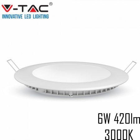 V-TAC süllyeszthető mennyezeti kerek LED lámpa panel - 6W, meleg fehér - 4854