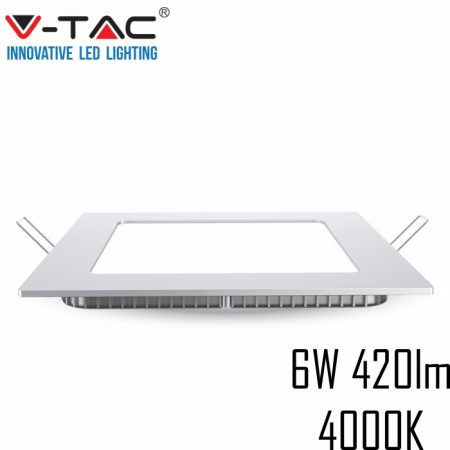 V-TAC süllyeszthető mennyezeti négyzet LED lámpa panel - 6W, természetes fehér - 4864