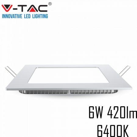 V-TAC süllyeszthető mennyezeti négyzet LED lámpa panel - 6W, hideg fehér - 4865