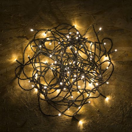 Kültéri - beltéri LED fényfüzér meleg fehér 12m