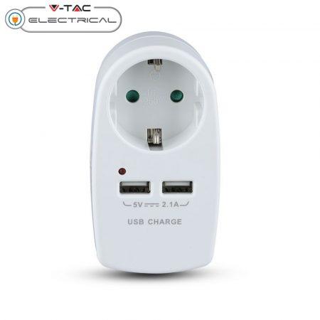 V-TAC USB telefon töltő DC 5V 2.1A - AC 230V konnektor, fehér - 8795