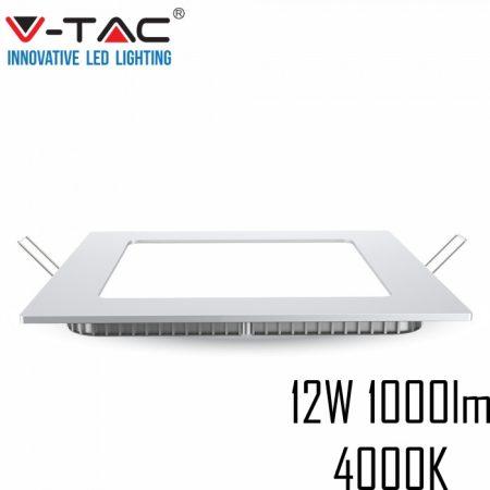 V-TAC süllyeszthető mennyezeti négyzet LED lámpa panel - 12W, természetes fehér - 4867