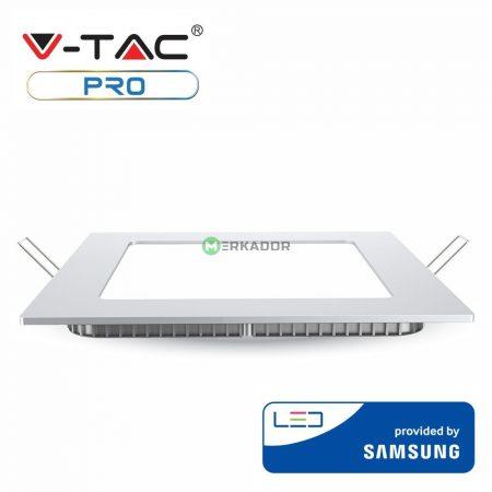 V-TAC süllyeszthető, szögletes LED lámpa panel 12W - Samsung chip - 6400K - 711