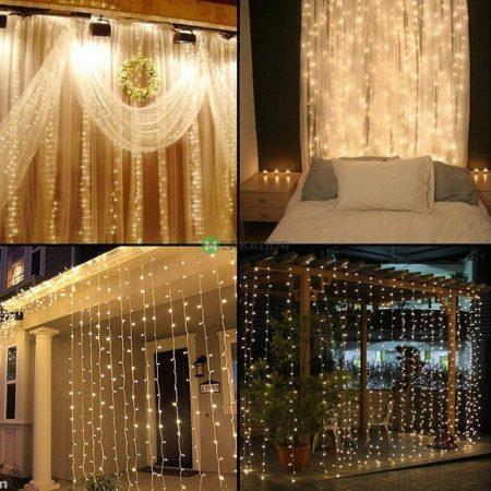 Home esküvői LED fényfüzér, fényfüggöny szett 2x3m