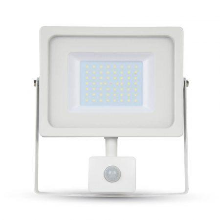 V-TAC mozgásérzékelős 50W SMD LED reflektor - 4000K - fehér ház - 5841