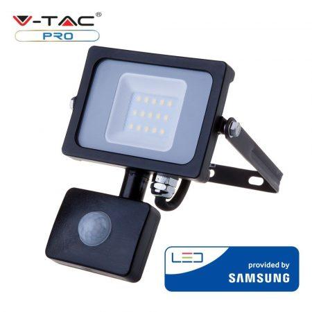 V-TAC mozgásérzékelős 10W SMD LED reflektor fekete házas - 6400K - Samsung chip - 438