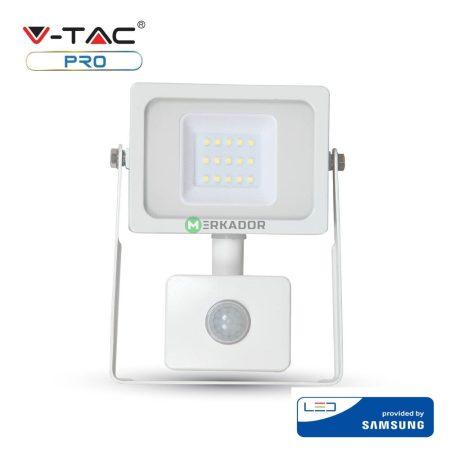 V-TAC mozgásérzékelős 10W SMD LED reflektor fehér házas - 6400K - Samsung chip - 435