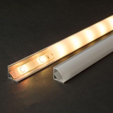 Alumínium LED szalag sarok profil 1m fehér fedlappal