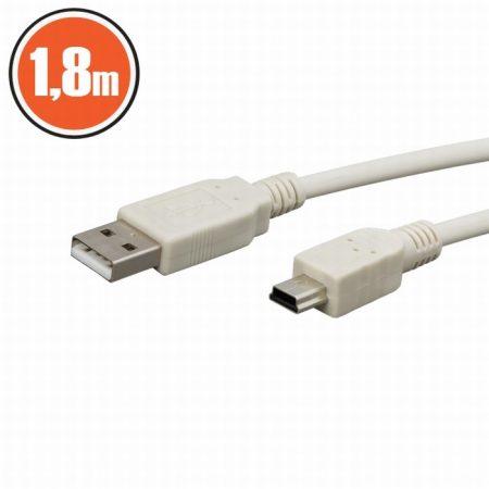 A USB - B mini USB kábel 1.8 m - vajszínű