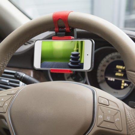 Autós telefon tartó kormányra - piros/fekete