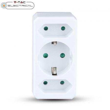 V-TAC 1+2-es fali hálózati elosztó dugalj gyerekzárral - 8784