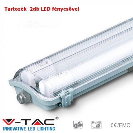 V-TAC T8 LED armatúra 60cm IP65 2db 4000K fénycsővel - 6465
