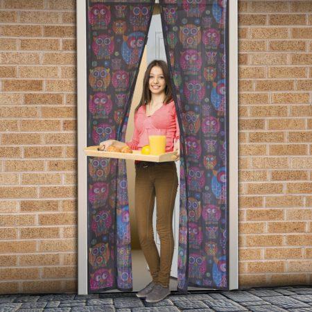 Mágneses szúnyogháló ajtóra - fekete - bagoly mintás