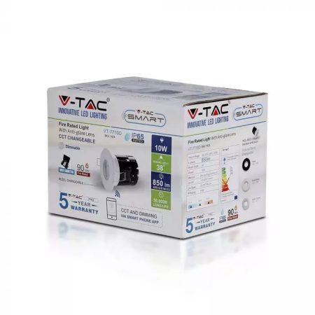 V-TAC PRO tűzálló, bluetooth-os beépíthető 10W SMART LED spot lámpa - 1424