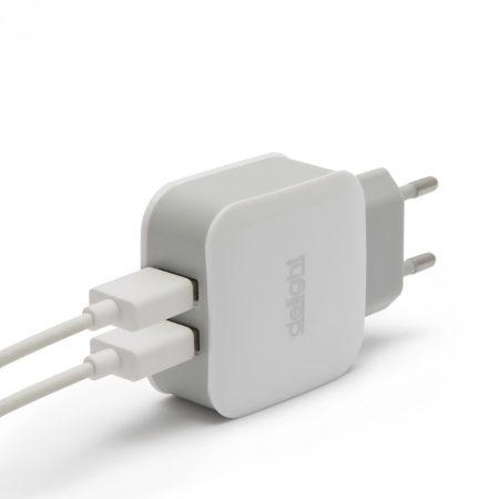 Delight duál hálózati USB töltő adapter 2.1A 5V