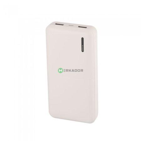 V-TAC univerzális külső telefon akkumulátor, fehér powerbank - 20000 mAh - 8904