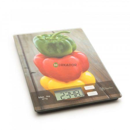 V/A extra vékony digitális konyhai mérleg - paprika mintával