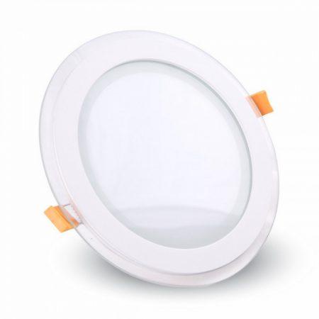 V-TAC süllyeszthető üveg LED lámpa panel - 18W, természetes fehér, kerek - 6281