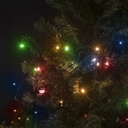 200 LED-es, 10m-es színes fényfüzér, hálózati csatlakozóval, 8 programmal