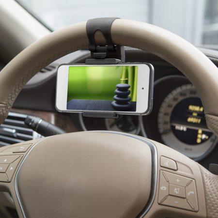 Autós telefon tartó kormányra - fekete
