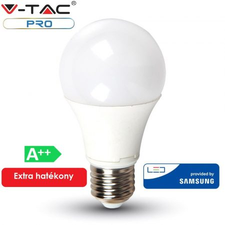 V-TAC PRO A++ 6.5W E27 LED izzó, 4000K - Samsung chip - 256