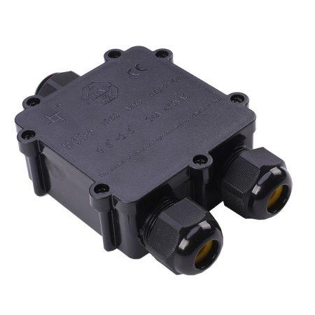 V-TAC IP68 kültéri vízálló 3-as kötődoboz, fekete - 5980